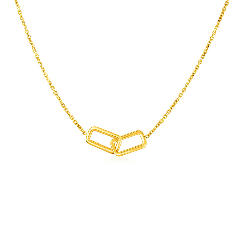14k Yellow Gold Necklace with Interlocking Petite Rectangles