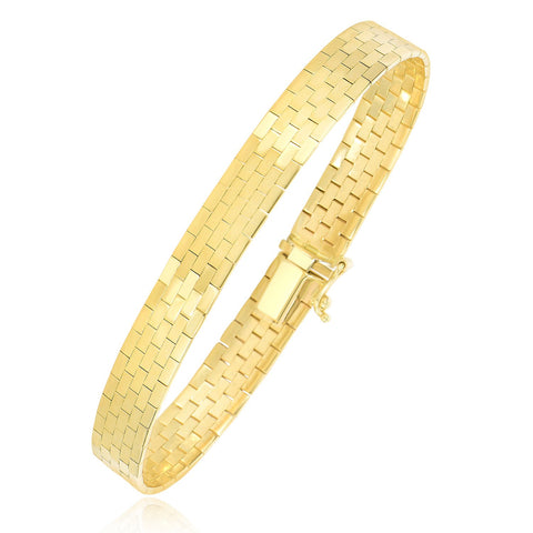 14k Yellow Gold Rectangular Brick Design Omega Bracelet