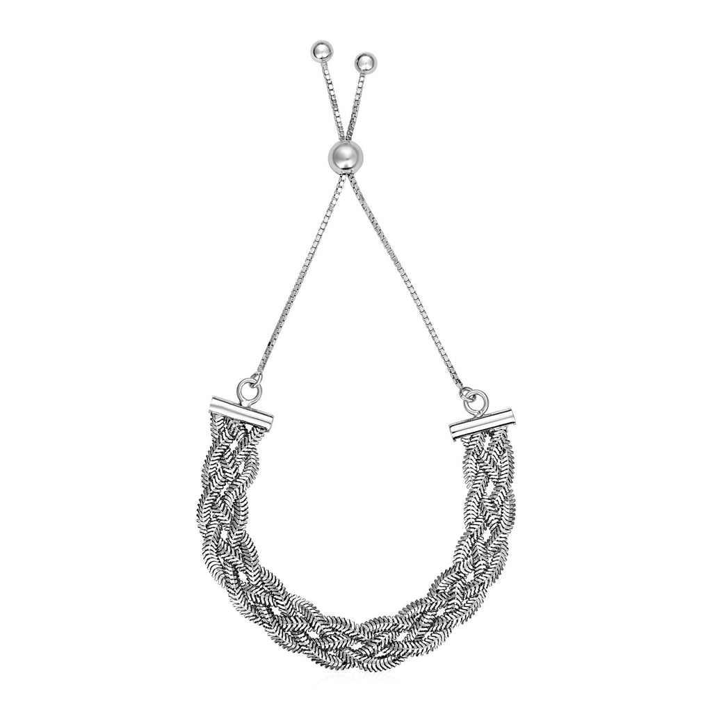 Adjustable Textured Braided Chain Bracelet in Sterling Silver