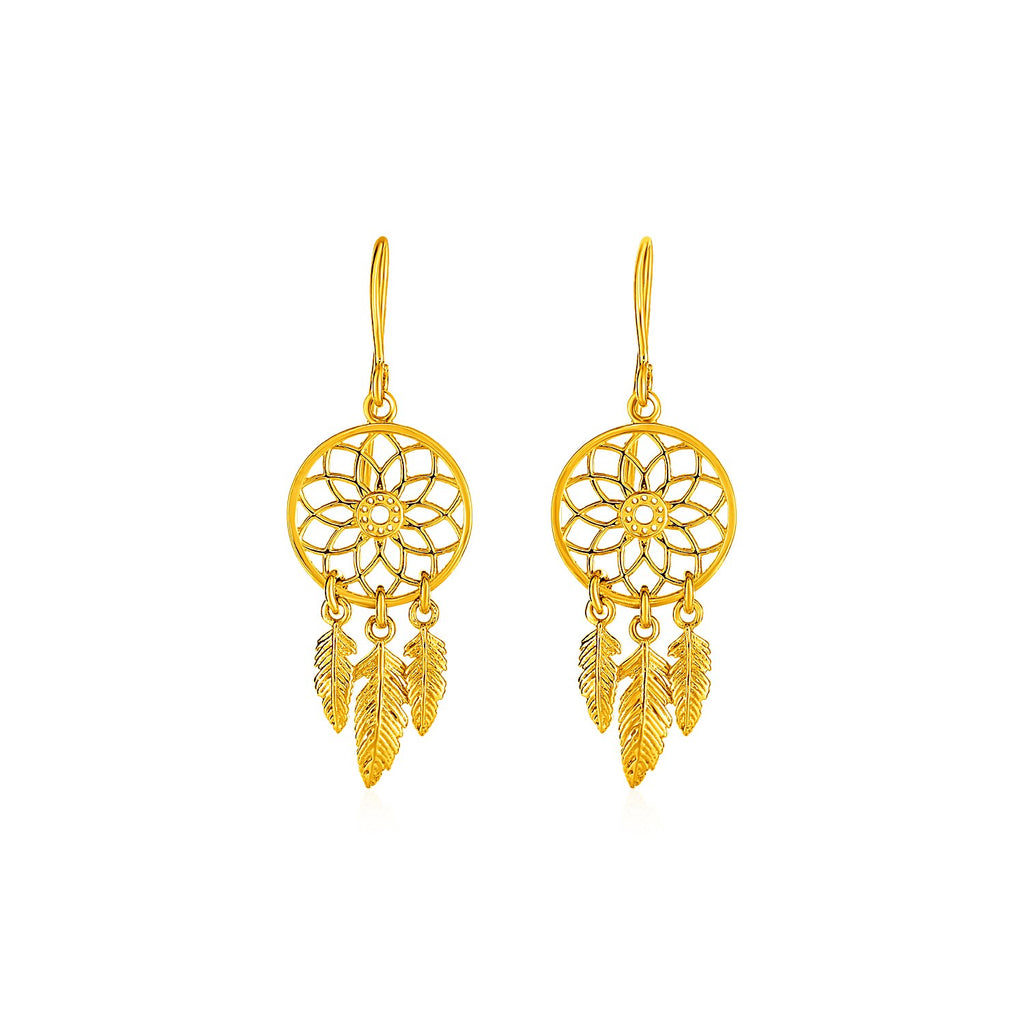 Dream Catcher Earrings in 14k Yellow Gold