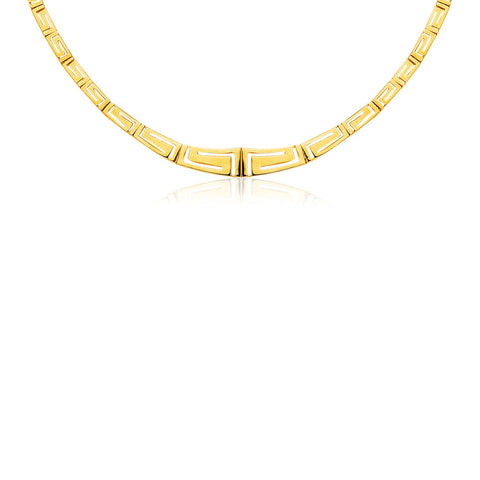 14K Yellow Gold Necklace with Graduated Greek Meander Motif Links
