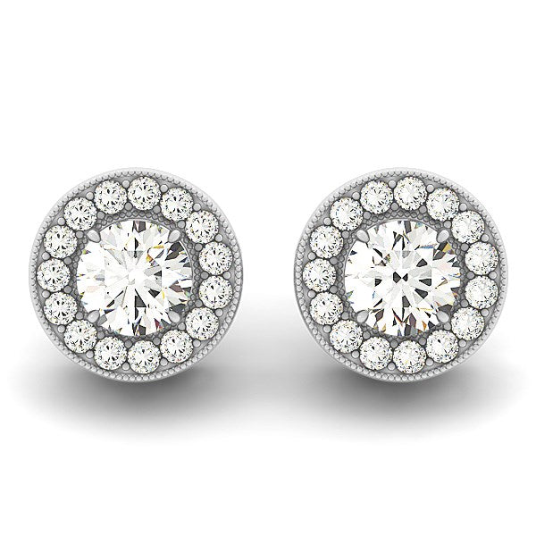 14k White Gold Round Diamond Halo Milgrain Border Earrings (3/4 cttw)
