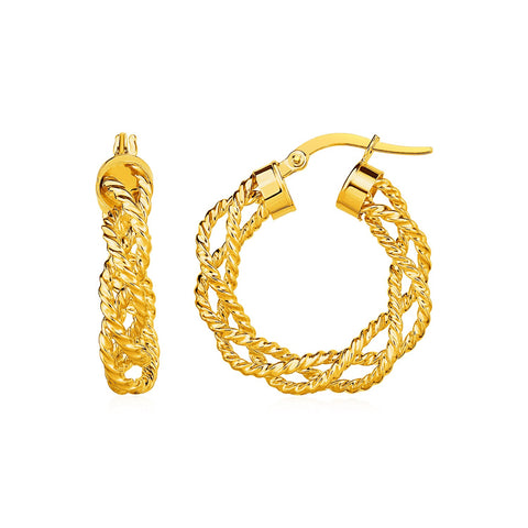 Textured Braided Hoop Earrings in 14k Yellow Gold