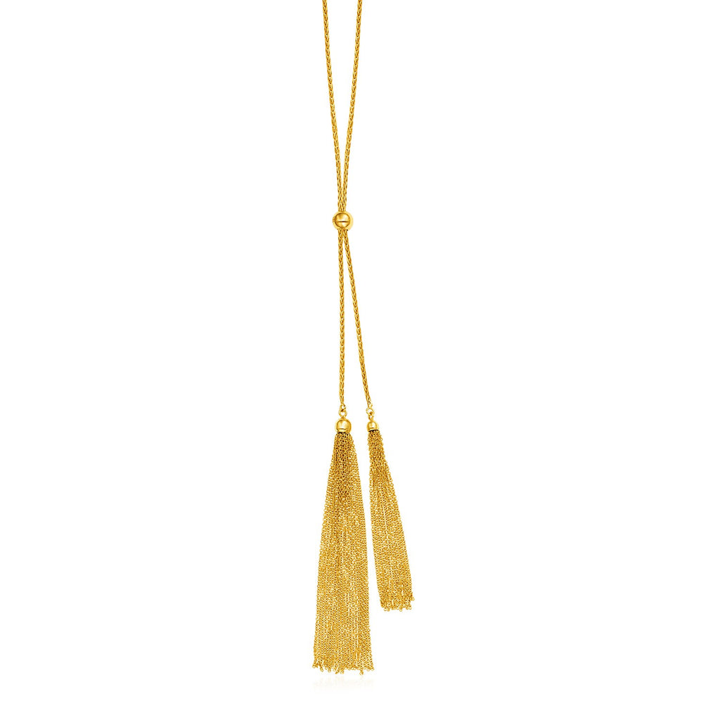 14k Yellow Gold 28 inch Lariat Style Tassel Necklace