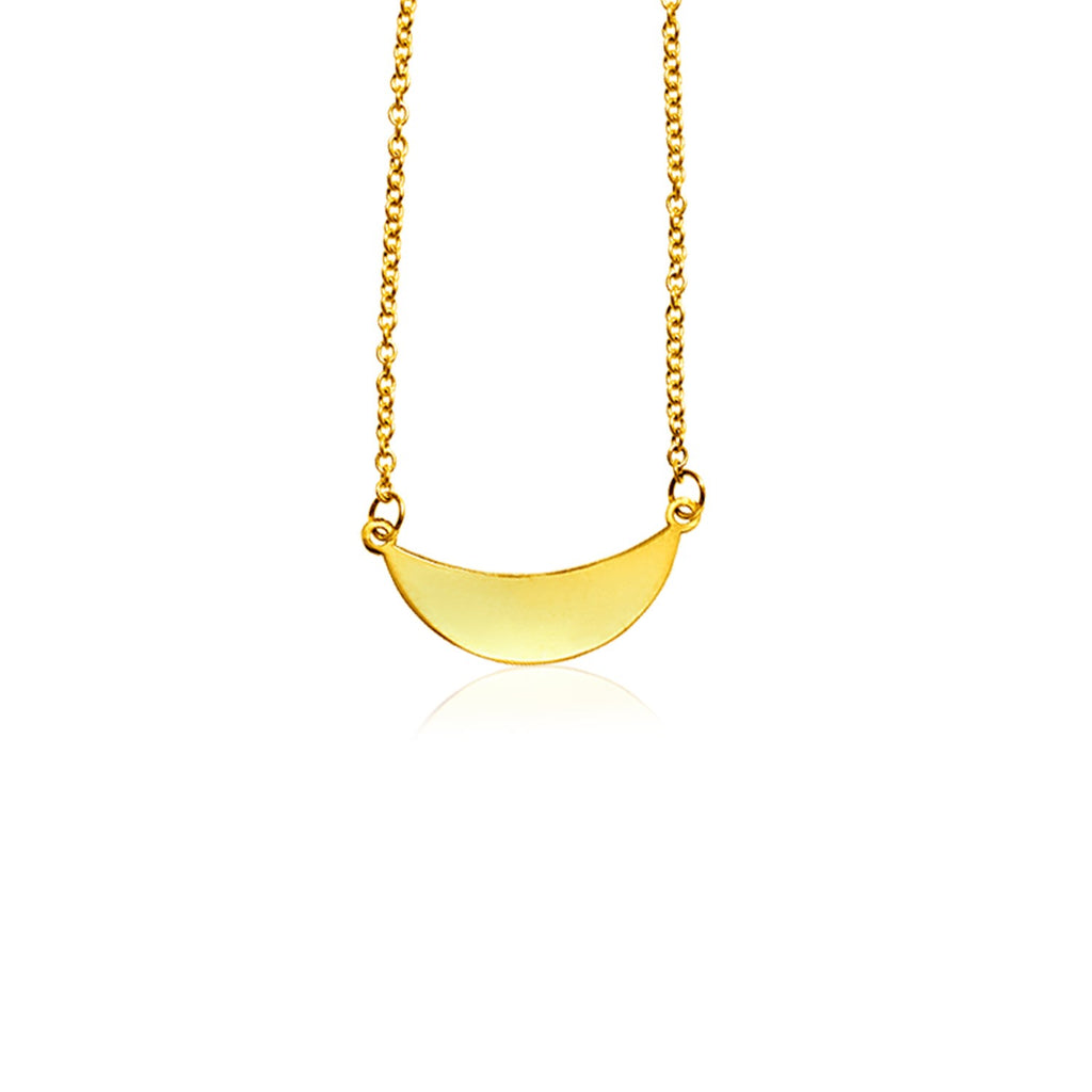 14k Yellow Gold 18 inch Necklace with Polished Arc