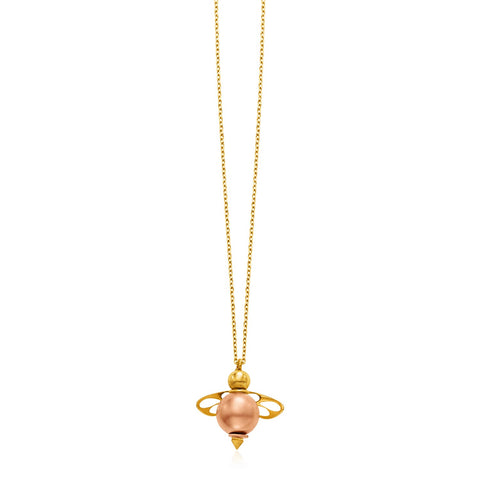 14k Yellow Gold Necklace with Bee Pendant
