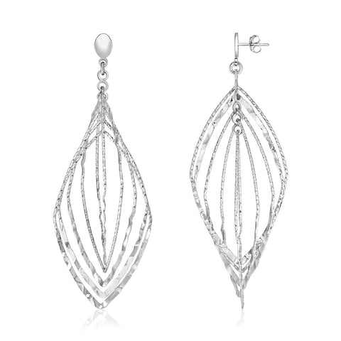 Sterling Silver Textured Leaf Motif Dangle Earrings