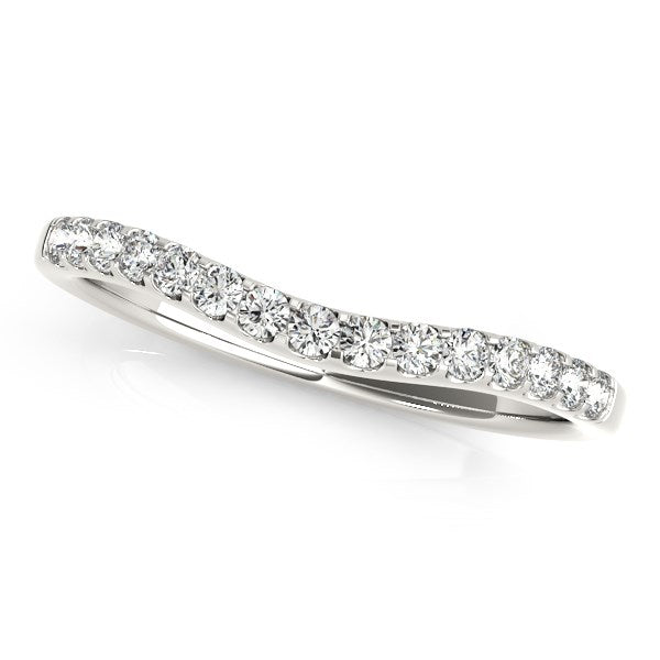 14k White Gold Round Pave Setting Curvy Diamond Wedding Band (1/4 cttw)