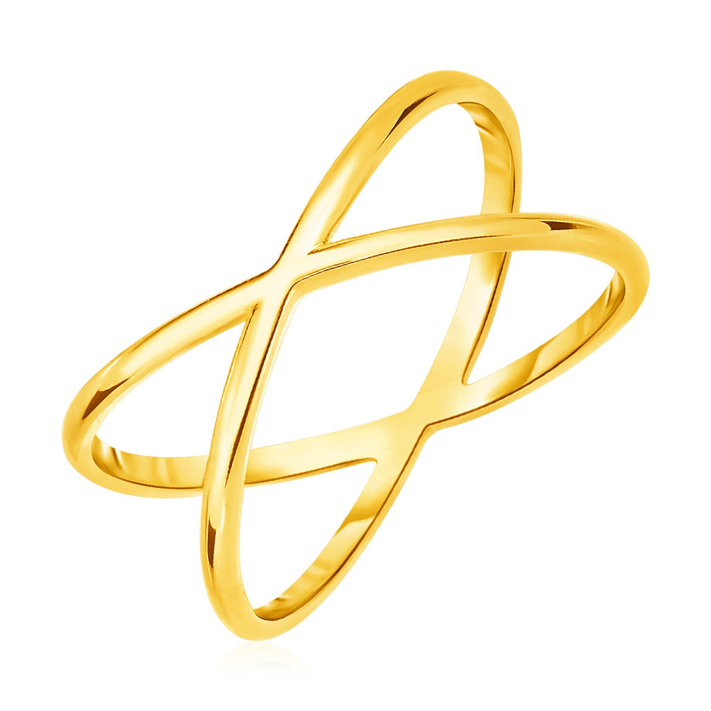 14k Yellow Gold Polished X Profile Ring
