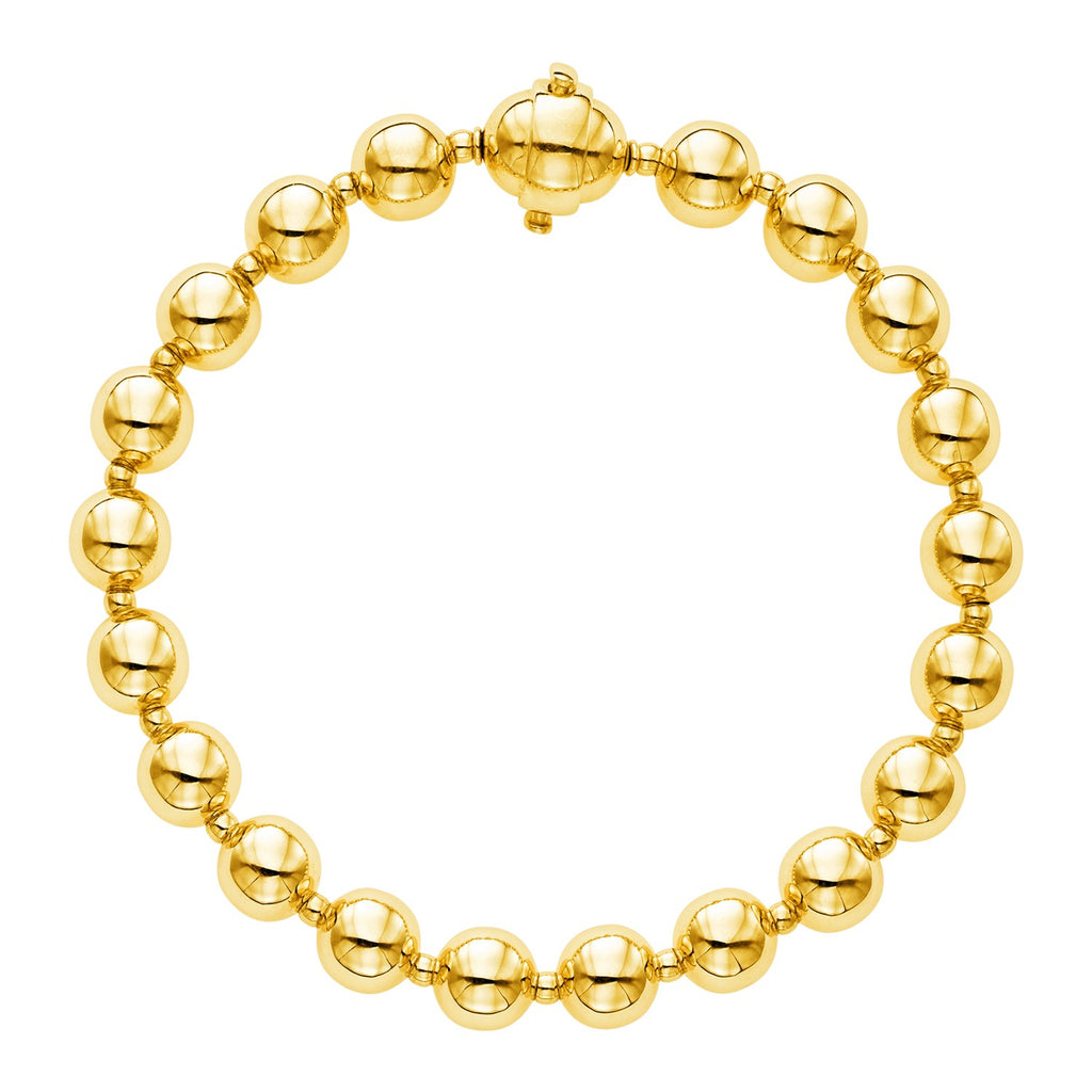 14k Yellow Gold 7 3/4 inch Polished Bead Bracelet