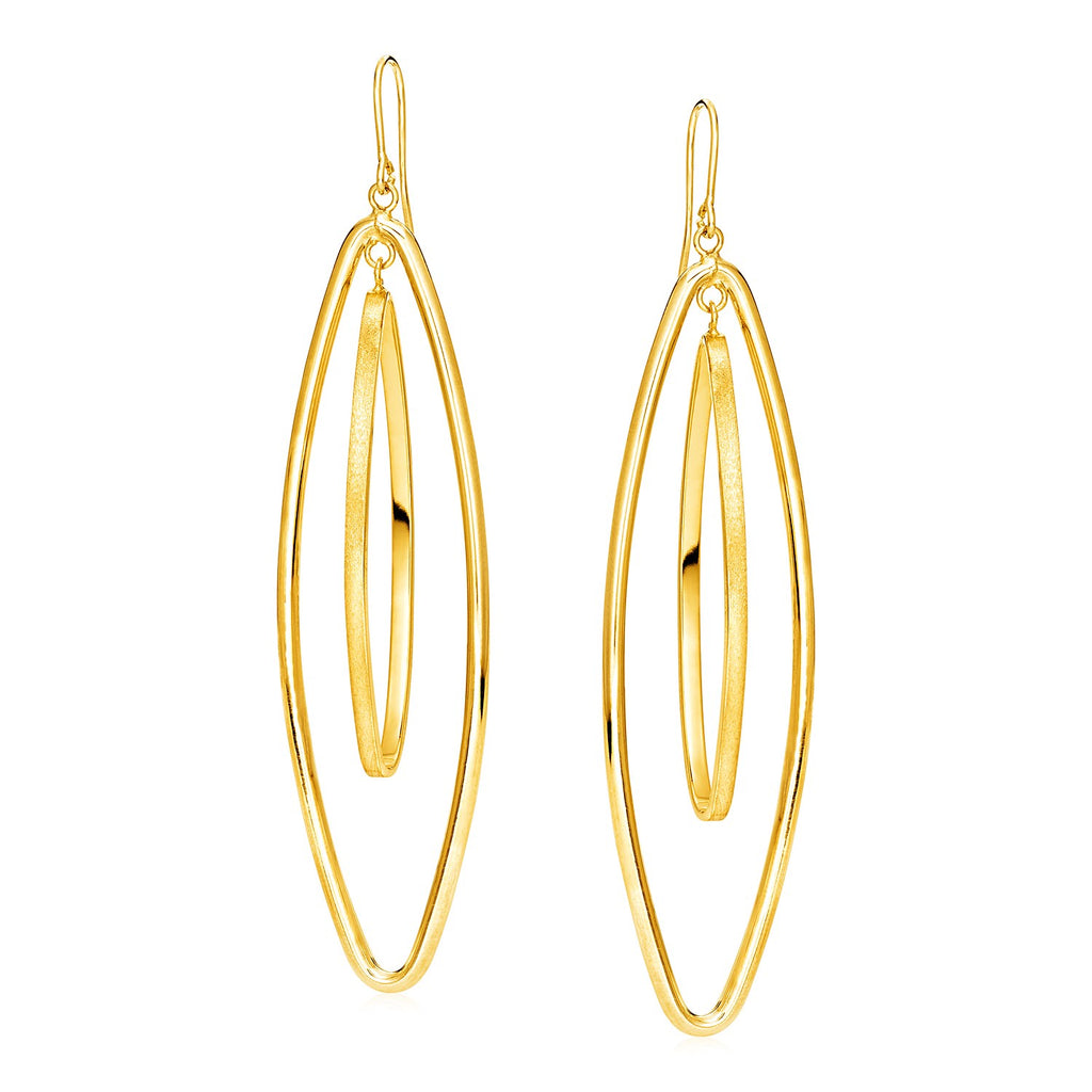 14k Yellow Gold Earrings with Two Elongated Marquise Dangles
