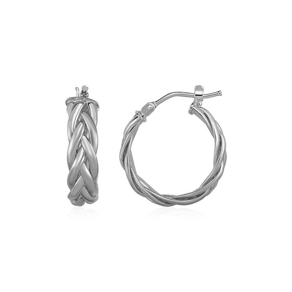 Shiny Braided Hoop Earrings in 14k White Gold