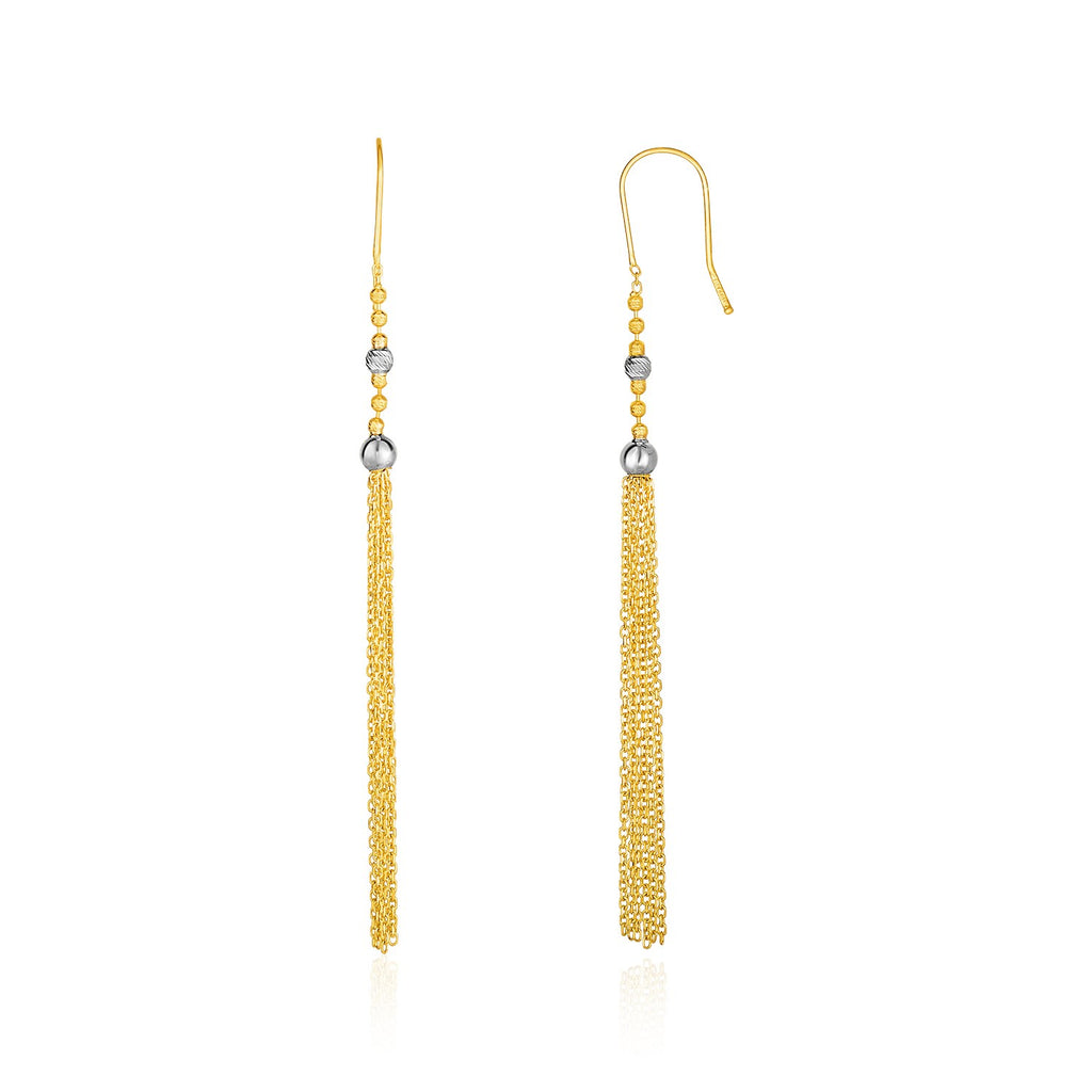 14k Two-Tone Yellow and White Gold Ball and Multi-Strand Tassel Earrings