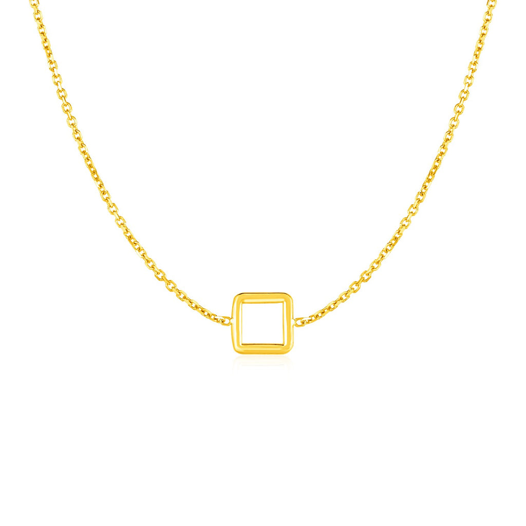 14k Yellow Gold Necklace with Petite Open Square Pendant