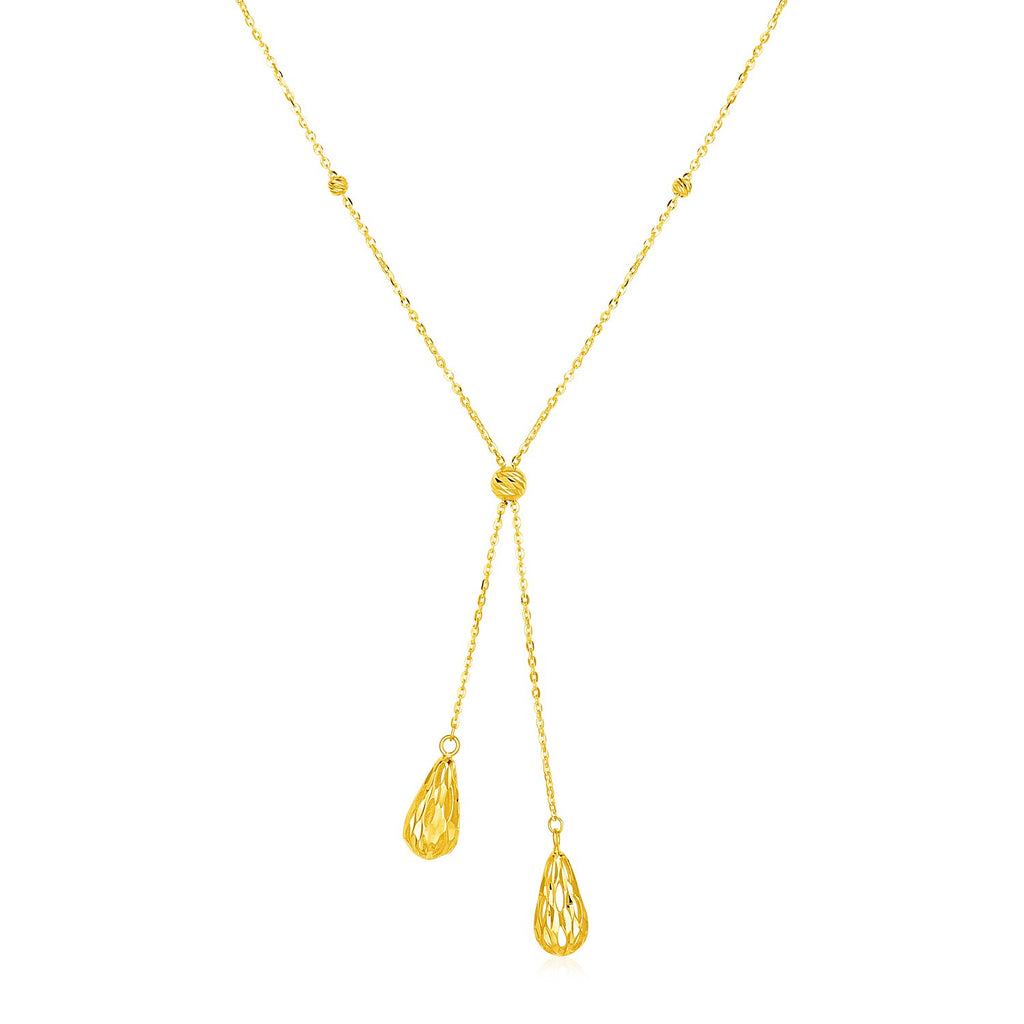 14k Yellow Gold Lariat Style Necklace with Textured Teardrops