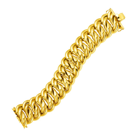 14k Yellow Gold 9 inch Wide Polished Twisted Link Bracelet