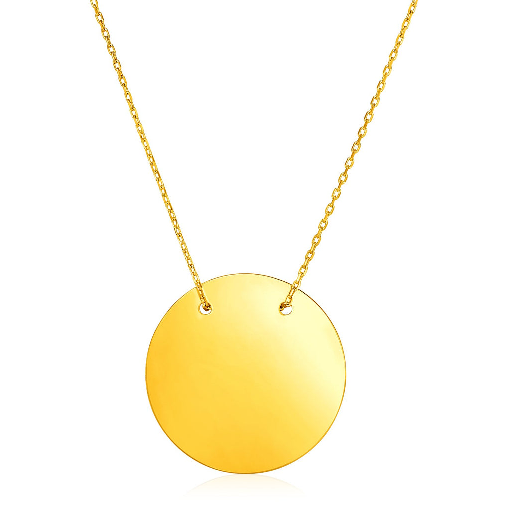 14k Yellow Gold 18 inch Necklace with Polished Circle