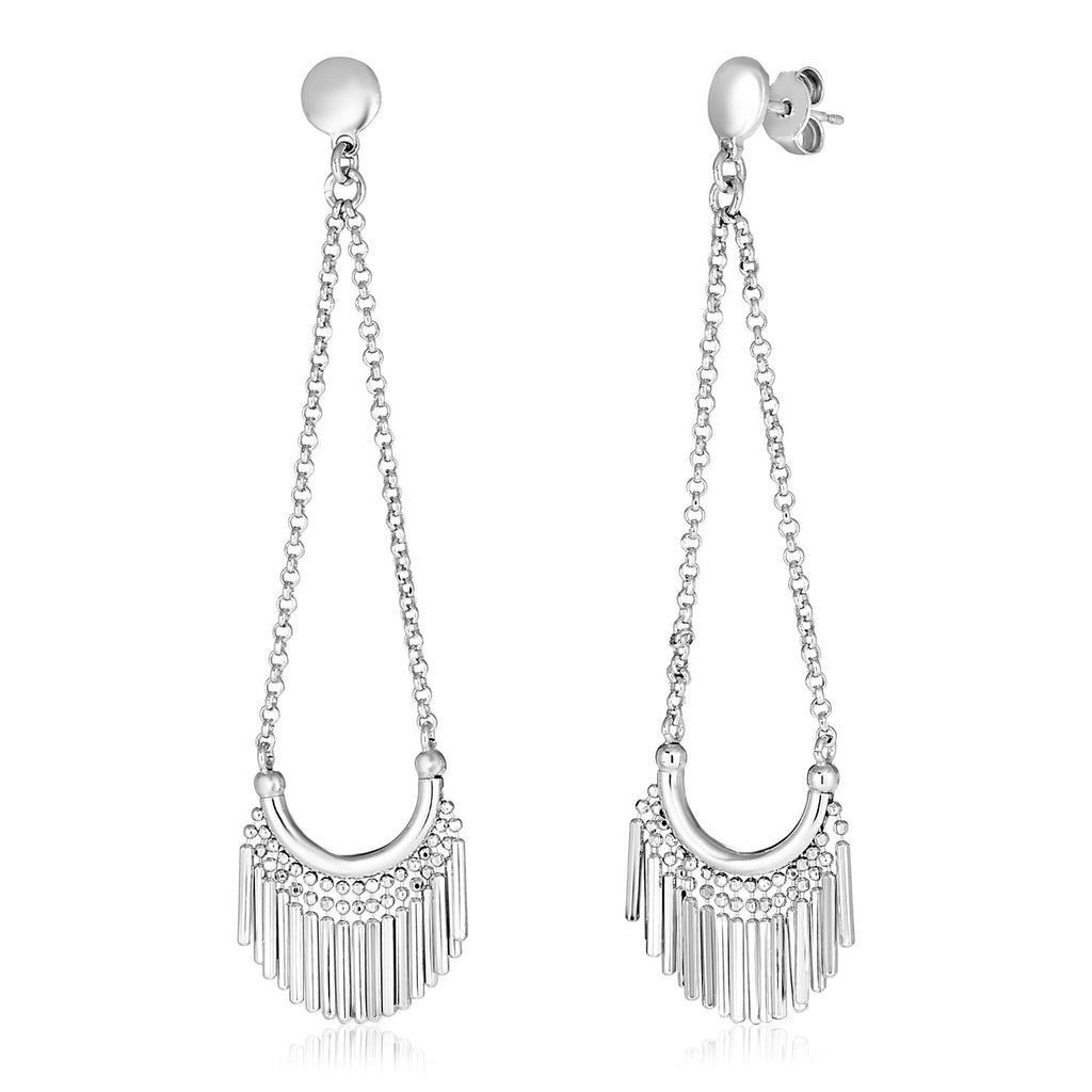 Sterling Silver Polished Earrings with Fringe