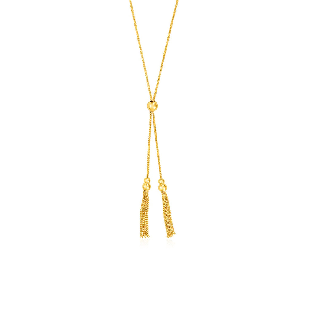 Adjustable Lariat Necklace with Chain Tassels in 14k Yellow Gold