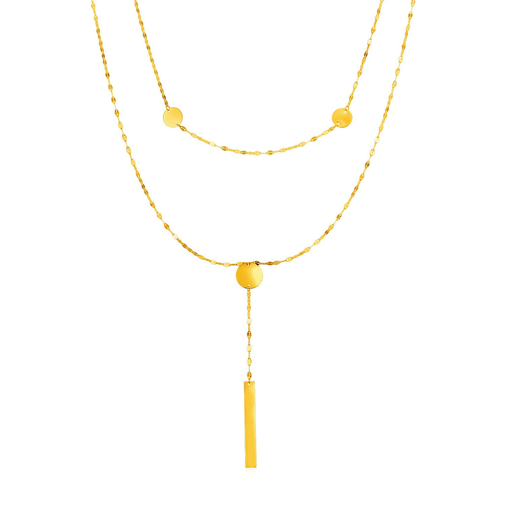 14k Yellow Gold Two Strand Necklace with Polished Circles and Bar Drop