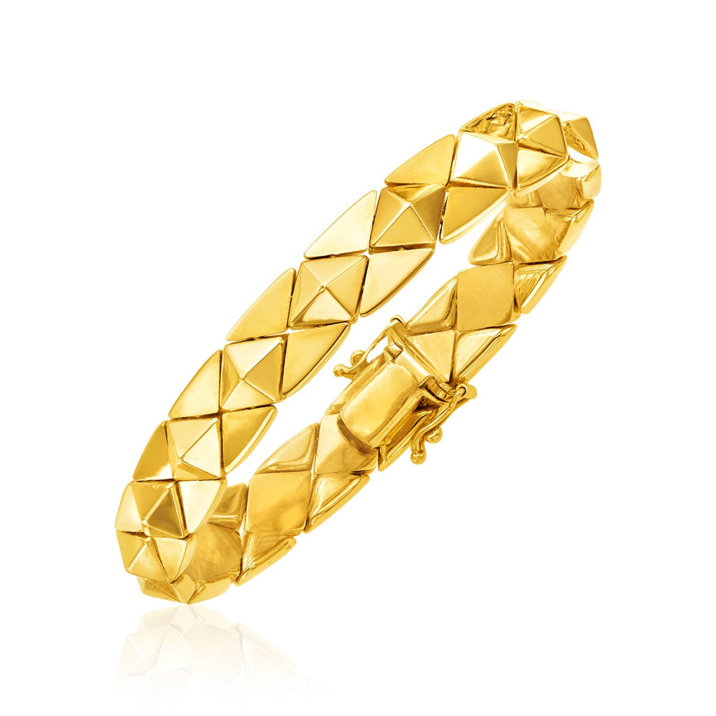14k Yellow Gold 7 inch Polished Pyramid Link Bracelet