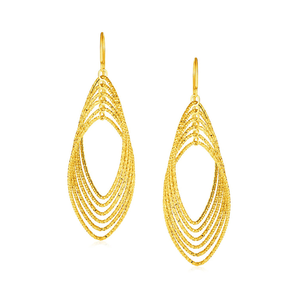 14k Yellow Gold Post Earrings with Textured Marquise Shapes
