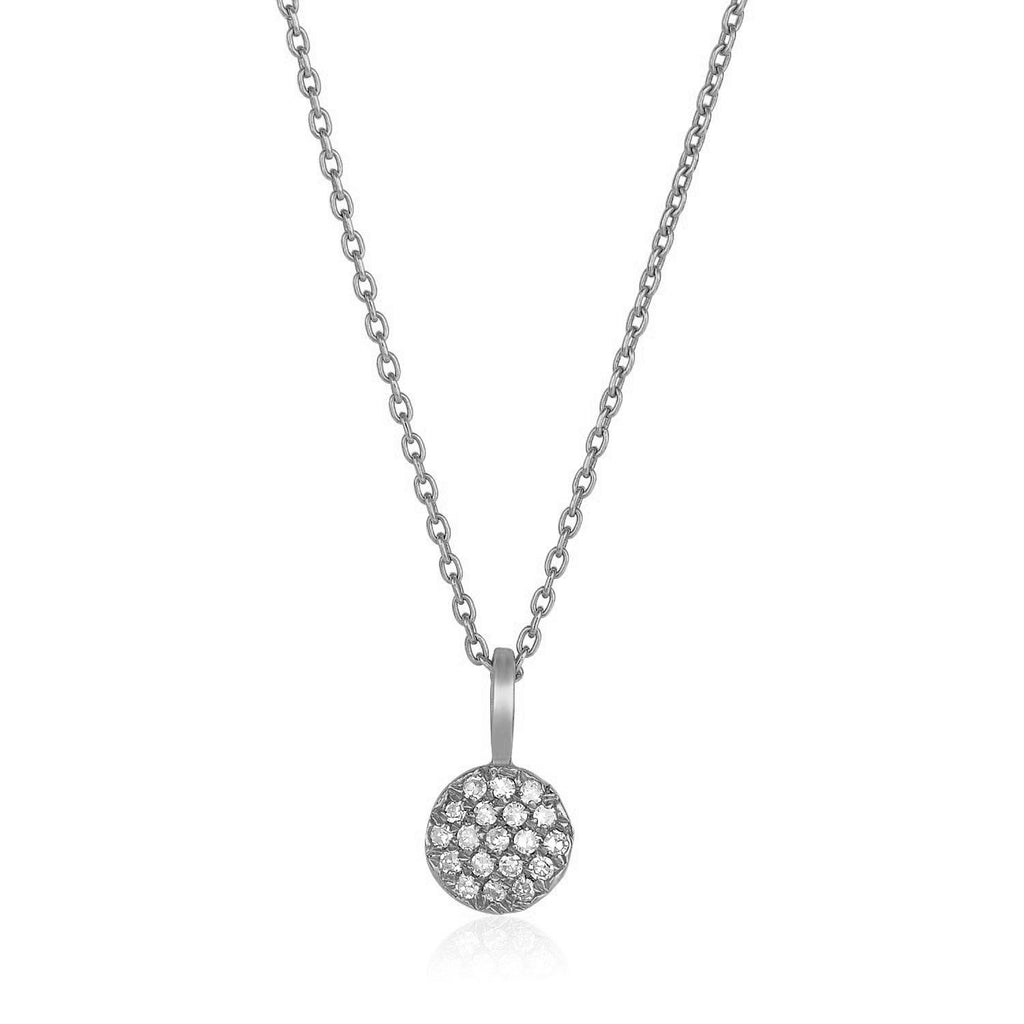 14k White Gold Necklace with Gold and Diamond Circle Pendant (1/10 cttw)