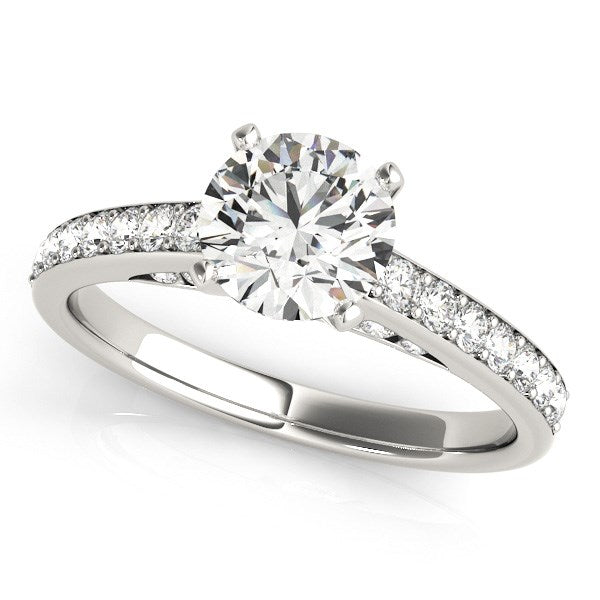 14k White Gold Single Row Prong Set Diamond Engagement Ring (1 3/8 cttw)