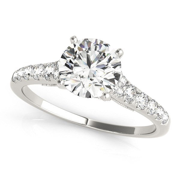 14k White Gold Diamond Engagement Ring With Single Row Band (1 3/4 cttw)