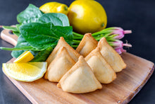 Load image into Gallery viewer, Spinach, Onion & Feta Triangles (Frozen) - 18pc