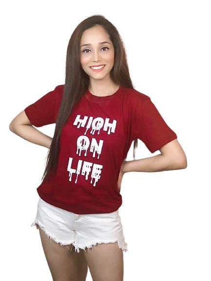 High On Life Maroon T-Shirt For Women