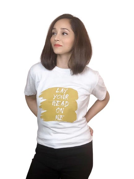 Lay Your Head On Me White T-Shirt For Women