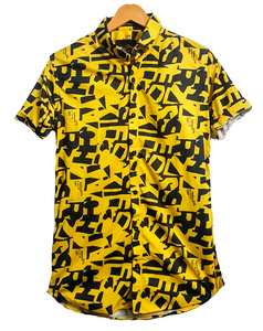 Yellow Black Alphabets Graphic Shirt for Men