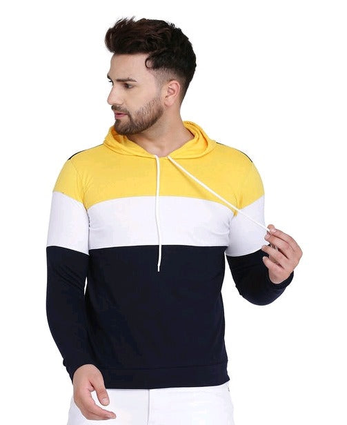 Yellow Navy Tri-Panel Hoodie
