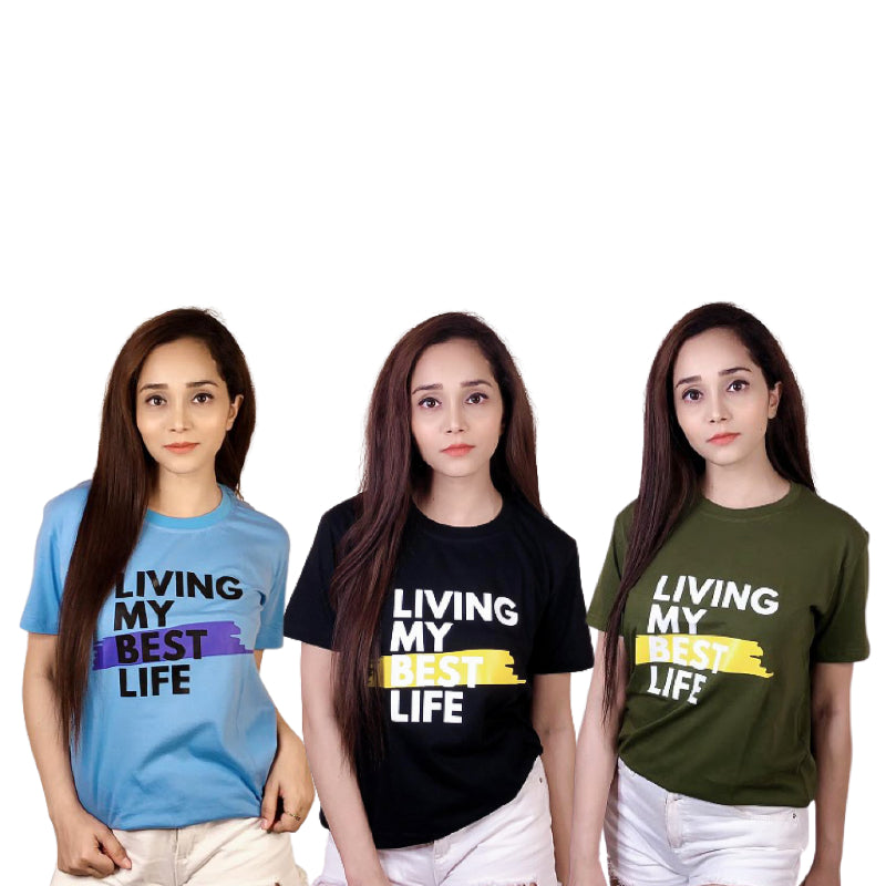 Pack of 3 Living My Best Life T-Shirts Combo For Women