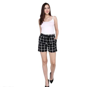 Black White Checkered Shorts for Women