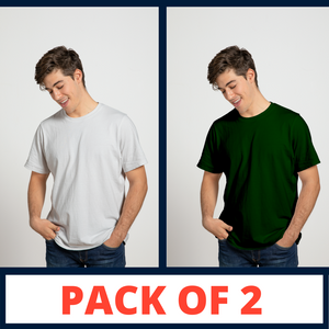 WHITE & GREEN - PLAIN T-SHIRT COMBO