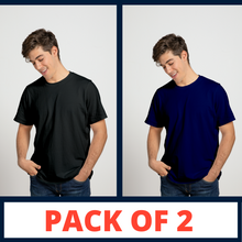Load image into Gallery viewer, BLACK & NAVY BLUE - PLAIN T-SHIRT COMBO