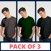 Load image into Gallery viewer, BLACK, GREEN, CHARCOAL GREY - PLAIN T-SHIRT COMBO