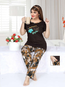 Chocolate Brown Top Graphic Bottom Night Suit For Women