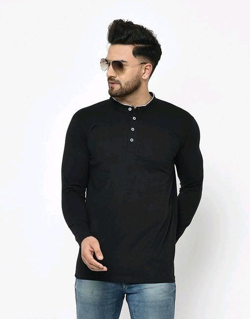 Solid Black Neck Buttons Full Sleeves T-Shirt