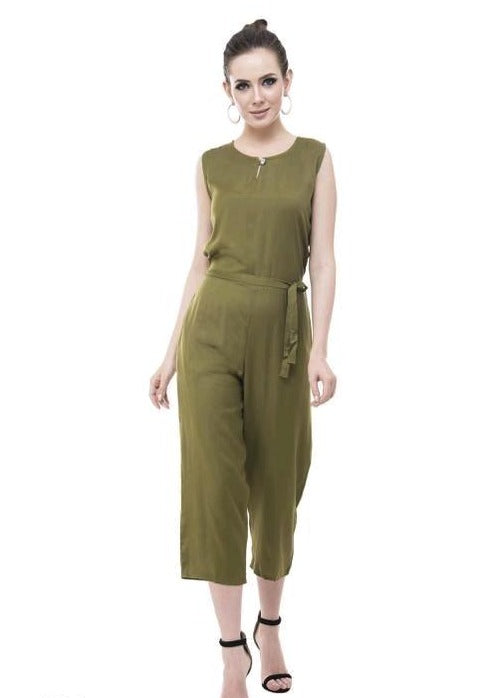 Solid Green Knotted Jumpsuit