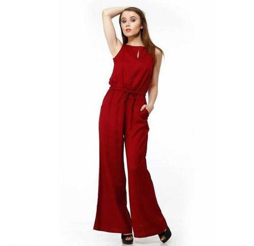 Red Solid Bell Bottom Jumpsuit