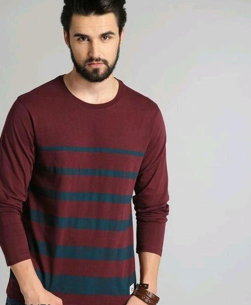 Maroon Blue Strips T-Shirt