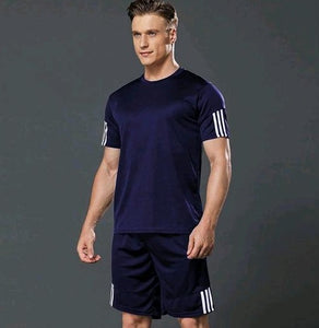 Navy Blue White Stripes Tee Shorts Track Suit