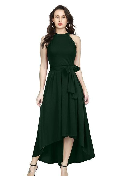Forest Green Waist Knotted Dress