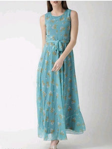 Sky Blue Daisy Floral Sleeveless Dress