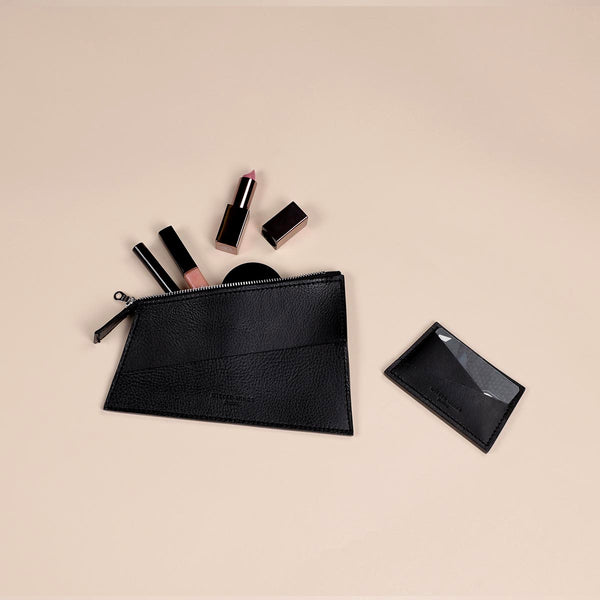 Black Zipped Pouch & Cardholder Set (5060371939467)