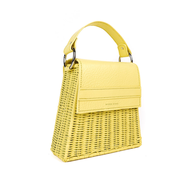 Lian---Yellow---Front-Wicker-Wings-Wicker Bag-Bucket Bag-Bags for Women-Designer Handbags-Beach  Bag-Summer Bag-Straw Bag-Black Bag-Crossbody Bag-Mini-Bag-Leather Handbags-Purse