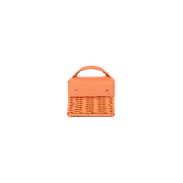 Micro-Kuai--Orange---Front-Wicker-Wings-Wicker bag-Bucket bag-Bags for women-Designer Handbags-Beach bag-Summer bag-Straw Bag-Black bag-Crossbody bag-Mini bag-Leather handbags-Purse